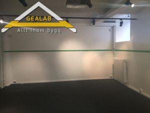 ny golv och måla väggar till vit